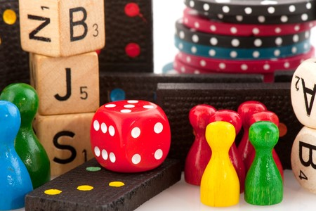attributes: All attributes to play board games isolated over white Stock Photo