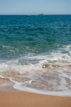 Landscape beach with waves surfs and sand Stock Photo - 7306735