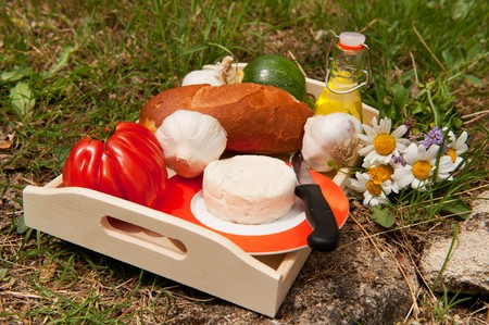 French bread and cheese with vegetables and oil outdoor photo
