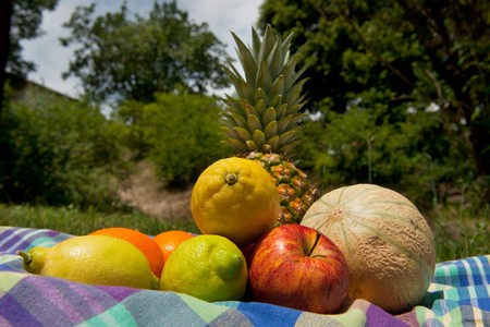 Fresh summer fruit outdoor for the picnick photo