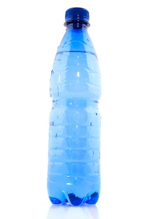 Blue plastic bottle filled with fresh water photo