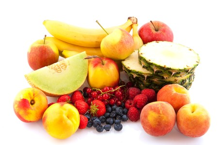fresh healthy fruit assortment isolated over white photo