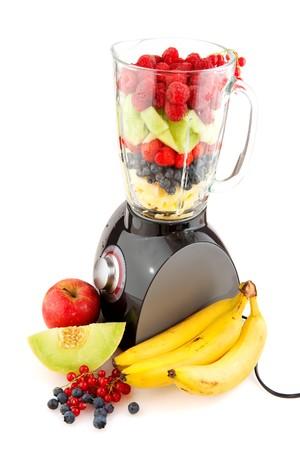 blender: Blender and fresh fruit to make smoothies Stock Photo