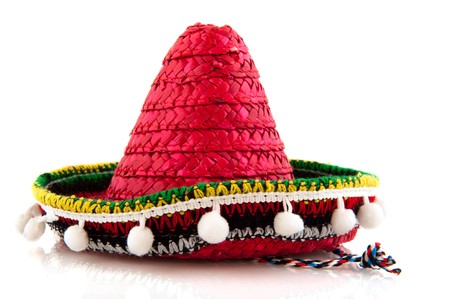souvenir traditional: Typical Spanish hat as souvenir isolated over white