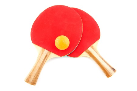 Table tennis attributes with ball isolated over white photo