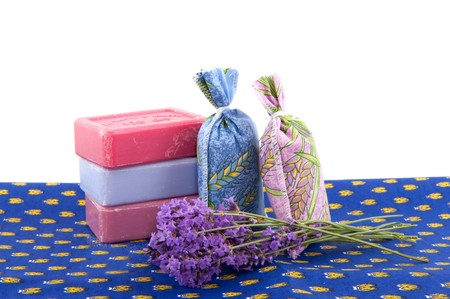 sachets: Famous products from the Provence as soap Lavender and scented sachets Stock Photo