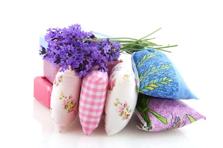 sachets: scented sachets Lavender and soap from the Provence Stock Photo