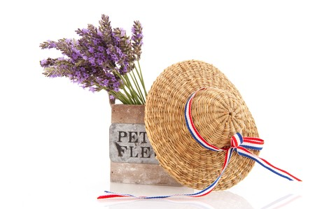 Little bouquet purple Lavender from the Provence isolated over white photo