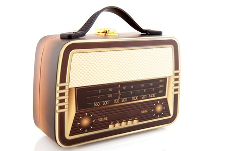 suitcase in the shape of an old radio