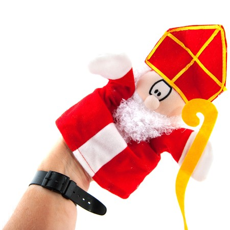 sinterklaas: Funny Sinterklaas hand puppet isolated over white