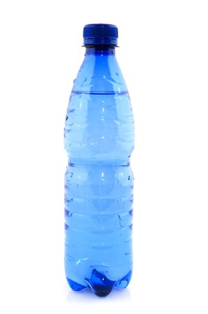 Blue plastic bottle filled with fresh water