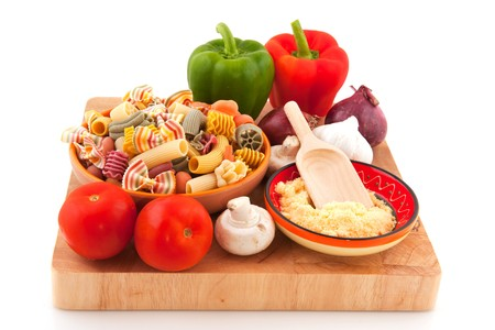 Cooking luxury colorful vegetarian pasta with vegetables and cheese photo