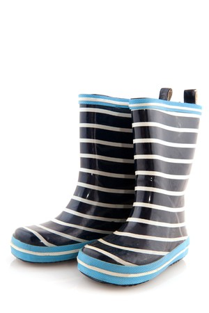 Blue and white striped rubber child boots Stock Photo - 7439999