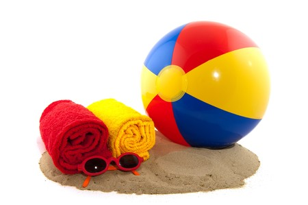 beachball: Beachball with rolled towels in red and yellow Stock Photo