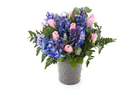 Blue and pink flower bouquet with Larkspur and roses Stock Photo - 7541399