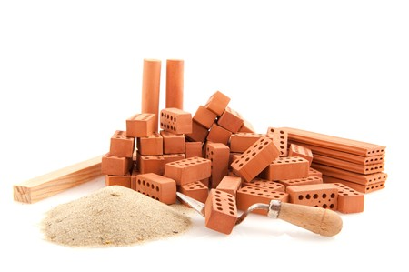 briquettes: construction site to build a house isolated over white Stock Photo