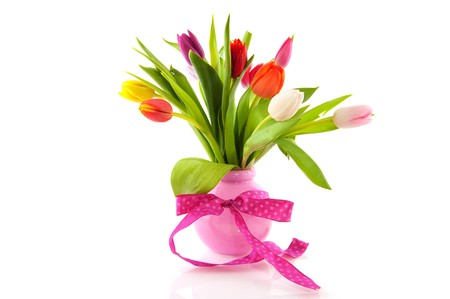 Bouquet tulips in different bright colors for the birthday photo