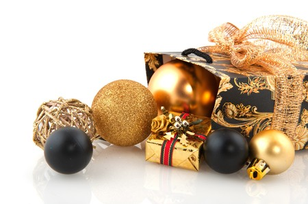 Luxury golden christmas presents wrapped with decoration