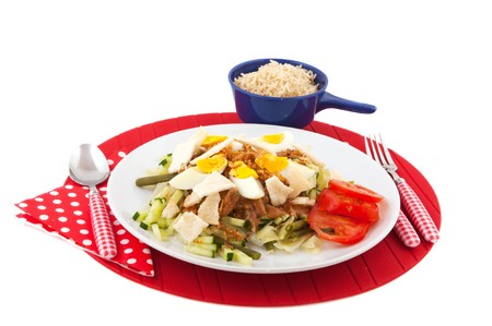 gado: Indonesian food Gado Gado with brown rice isolated over white