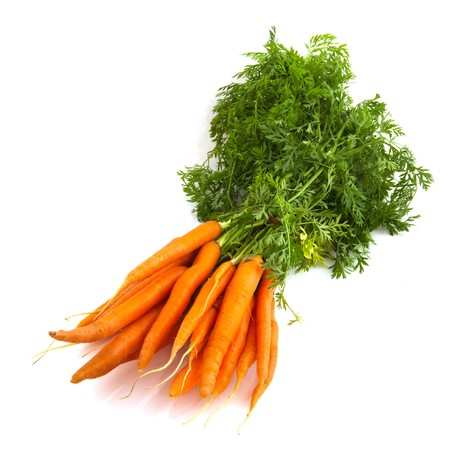 Bunch orange carrots with green leaves isolated over white