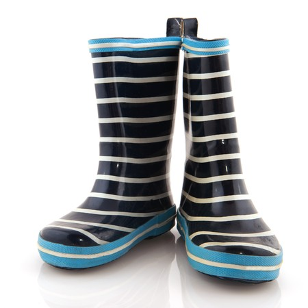 Striped rubber child boots isolated over white Stock Photo - 7638123