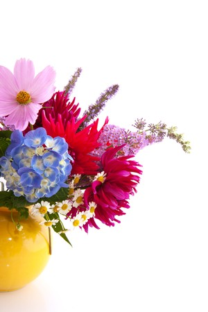 differed: Garden flower bouquet with Hydrangea cosmos and others Stock Photo