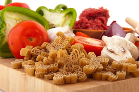 parmezan: Preparing christmas pasta with reindeers and all ingredients