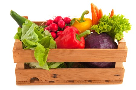 crate: Wooden crate with a diversity of fresh vegetables Stock Photo