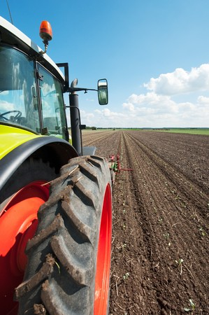 Tractor in the vegetable fields with horizon