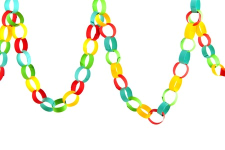 chain: Handmade paper chain guirlande isolated over white