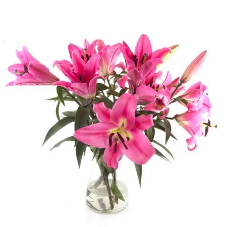 arreglo floral: Flores de Lily bouquet de rosas en florero de cristal