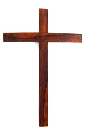 teak wood: Simple wooden Christian cross isolated over white
