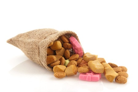 Jute Sinterklaas bag with pepernoten traditional candy photo