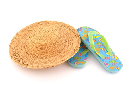 Leisure vacation with straw hat and flip flops photo