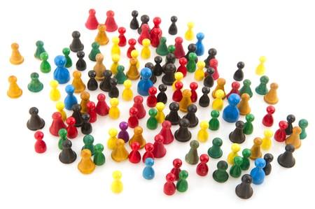 viele leute: Gro�e Gruppe von Menschen in vielen Farben in abstrakten