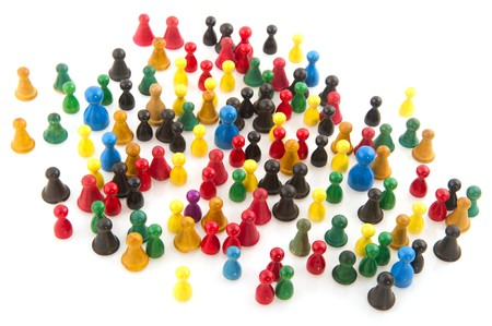 Large group of people in many colors in abstract Stock Photo - 7828827