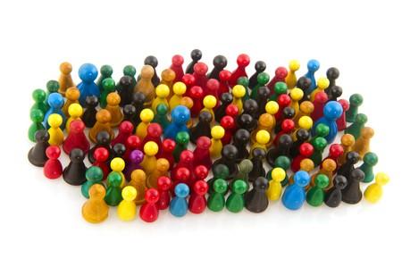 grote groep mensen: Grote groep mensen in vele kleuren in abstract  Stockfoto