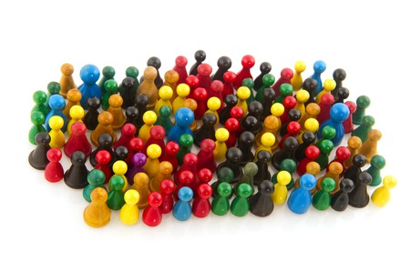 Large group of people in many colors in abstract Stock Photo - 7828818