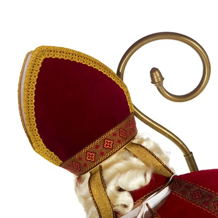 miter: Sinterklaas with head at his back isolated over white Stock Photo