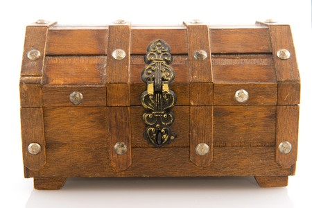 locked: closed wooden treasure chest with lock isolated over white