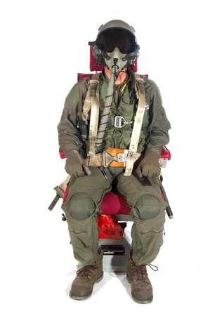 helmet seat: Crew American aircraft in full uniform isolated over white Stock Photo