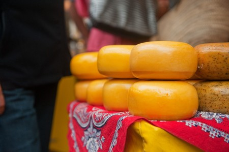 Dutch whole cheeses at the markte in Holland photo