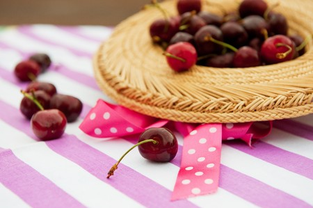 Summer harvest with fresh cherries in straw hat Stock Photo - 7934318