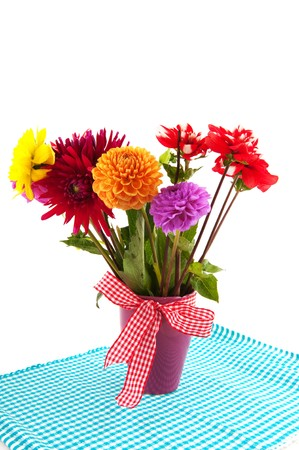 Bouquet of Dahlia flowers isolated on checkered cloth Stock Photo - 7934268