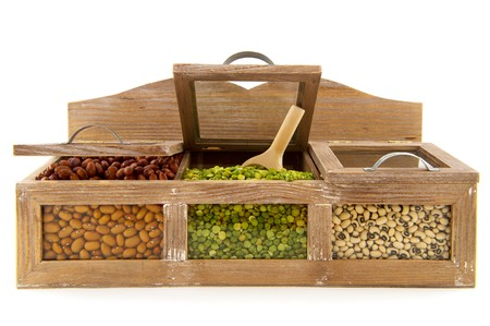 Various dried legumes in wooden shop shelfs Stock Photo - 7934263