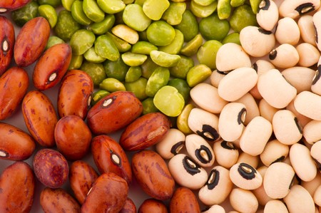 legumes: Various colorful dried legumes beans as background