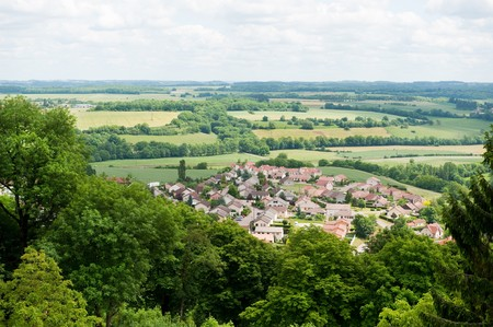 View to a little typical French village in the Haute-Marne in France from the walls of Langres Stock Photo - 7934388