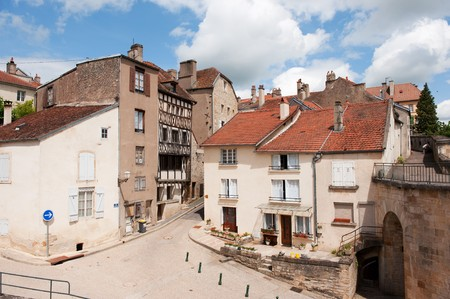 Street scene in the old French village Langres Stock Photo - 7934369