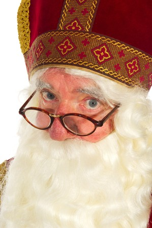 Portrait of the Dutch Sinterklaas isolated over white Stock Photo - 7908222