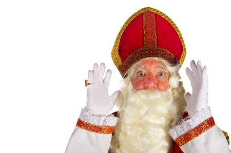 Portrait of the very surprised Dutch Sinterklaas isolated over white Stock Photo - 7908213